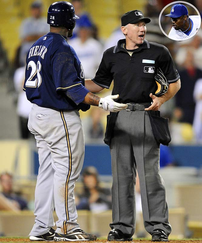 Brewers reliever Chris Smith hit Manny Ramirez in the seventh inning. With two outs in the top of the ninth and with the Dodgers winning 17-4, Guillermo Mota retaliated by hitting Fielder in the leg. Following the game, Fielder marched toward the Dodgers clubhouse and shouted obscenities before being subdued by teammates as a security guard held strong at the door. Both Fielder and Mota were fined, but not suspended.
