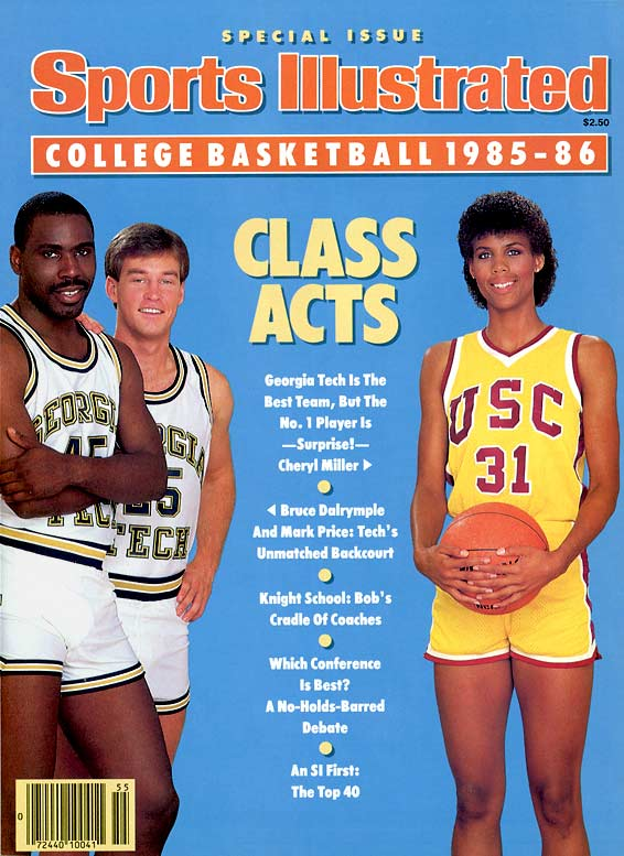 The 1980s fashion style included short shorts, as sported here by Georgia Tech's Mark Price and Bruce Dalrymple and Cheryl Miller of USC.