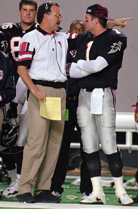 "Jeff George's sideline argument with coach June Jones in a September 1996 game resulted in a suspension and subsequent release by the Falcons, this after he had worn out his welcome in Indianapolis three years earlier. No surprise, then, that George's signing with the Raiders prompted this headline in the New York Times: ""Bad Boy, What's He Gonna Do? George Under Raiders' Scrutiny Now"""