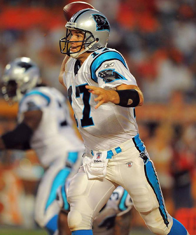 Jake Delhomme completed 10 of 16 passes for 85 yards and no touchdowns in Carolina's first two preseason games, both losses.