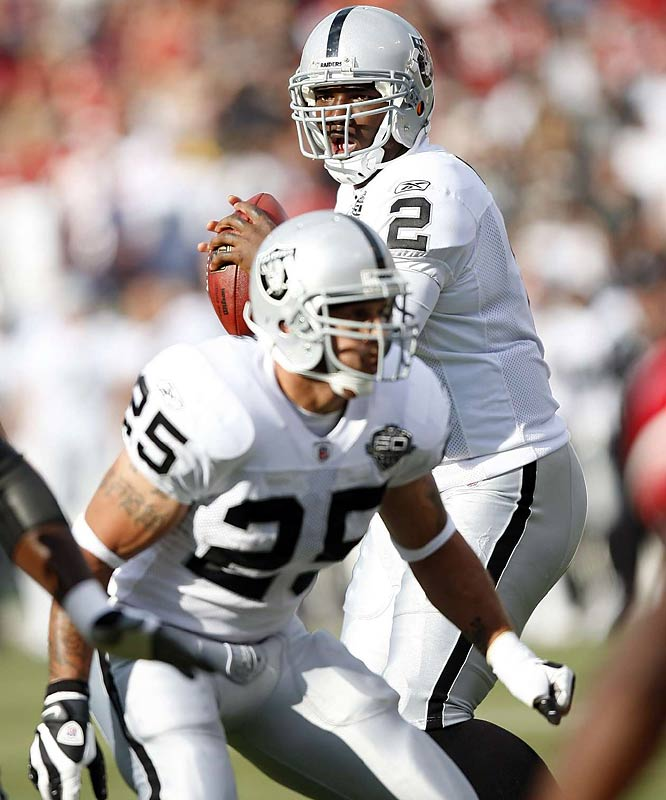 Will this be the year JaMarcus Russell has a breakout season? The Raiders have named him the opening-day starter, but Jeff Garcia is there if he falters.