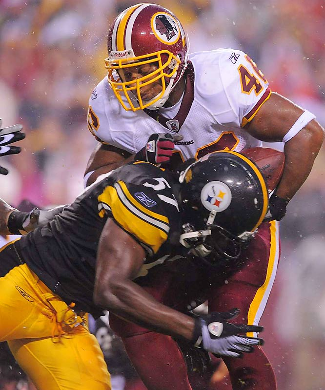 Ladell Betts will be a nice complement to Clinton Portis again this season. Here Betts gets tackled by Keyaron Fox, whom the Steelers signed to a two-year contract after he finished second on the team with a career-high 21 tackles on special teams in 2008.