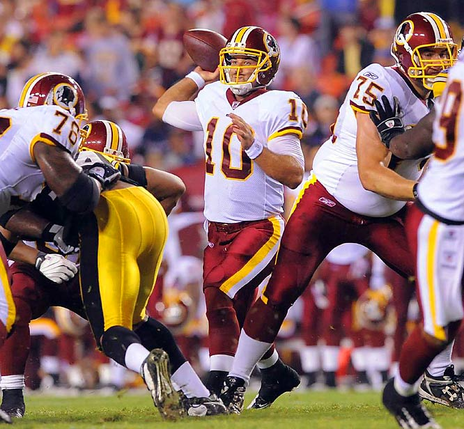 The former Heisman finalist threw for 12,500 yards and 101 touchdowns at Missouri. He's battling Colt Brennan and Todd Collins for a backup role with the Redskins.