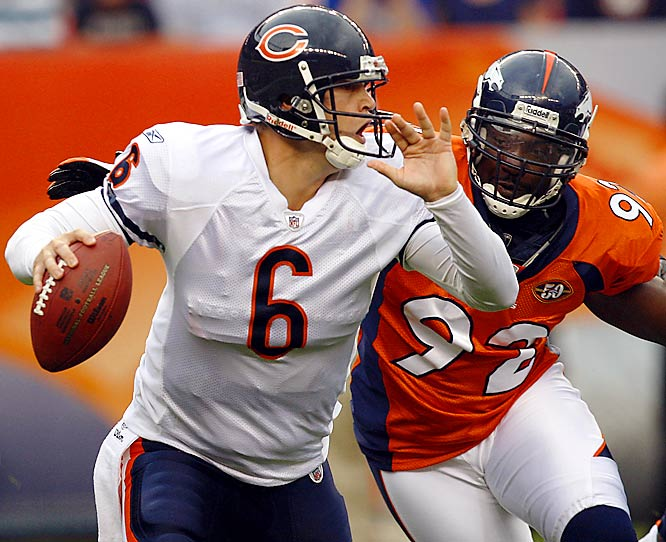 Heckled and harassed by a hostile Denver crowd, Jay Cutler silenced the jeers the best way he knew how -- completing 15 of 21 passes for 144 yards and a touchdown, leading the Bears to a win over the Broncos.