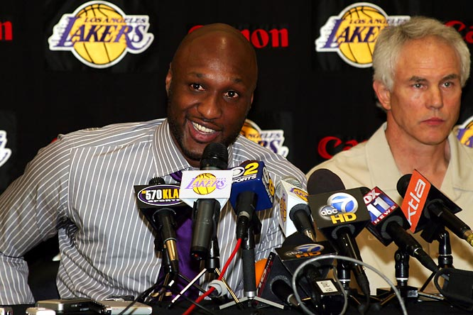 "Odom finally decided to re-sign with the Lakers, which was smart considering they were one of only two teams pursuing him and have been offering him more money than anyone else. So what finally put the Lakers' deal over the top for the Candy Man? ""We threw in some M&Ms,"" Lakers GM Mitch Kupchak said. ""And a bag of Twizzlers."""