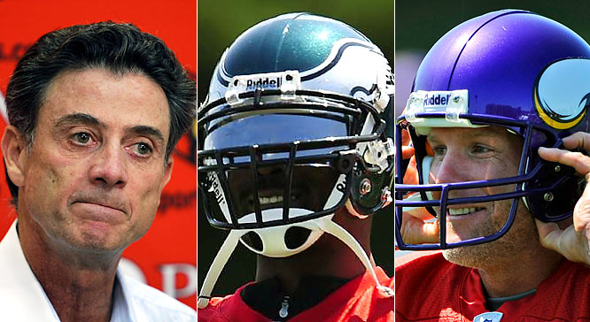 I don't know if Pitino, Vick and Favre have ever been in the same room at the same time, but I do know that Pitino owes Vick and Vick owes Favre big time. Just when it looked as if Pitino might get fired for his sordid sex scandal, Vick's signing with the Eagles bumped Pitino from the national headlines. And just when it looked like Vick would be scrutinized constantly for his controversial return to the NFL, Favre took the spotlight off him by signing with the Vikings. And what about Favre? Well, as we all know by now, the spotlight is always on Favre and that's just the way he likes it.