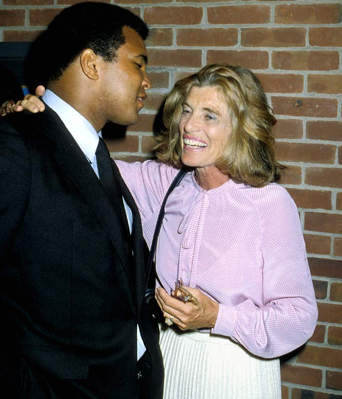 Muhammad Ali chats with Kennedy Shriver at the 1979 Special Olympics at the SUNY Brockport Campus.
