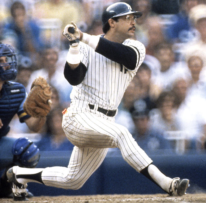 "The Yankees retire Reggie Jackson's No. 44 jersey. ""Mr. October"" played as an embattled right fielder for the Bronx Bombers from 1977 to '81, helping the club reach the postseason four times, including two world championships."