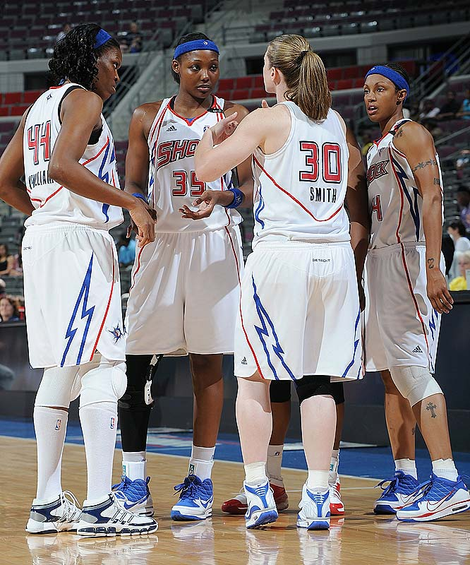 "The Shock picked up critical East wins against Chicago (64-58) and at Washington (81-77) thanks to strong backcourt play. Against the Mystics, Deanna Nolan scored 23 points, including the bucket that put the Shock ahead to stay. Against the Sky, rookie Shavonte Zellous shook off a shooting slump to lead Detroit with 19 points on 8-of-16 shooting off the bench. ""The last three games, I didn't think I was as efficient as I had been the first half of the season,"" Zellous said. ""But my teammates helped me and I stayed positive and I think that's what worked -- just being aggressive.""<br><br>Next three: 8/13 at Atlanta; 8/15 at Indiana; 8/18 vs. Seattle"