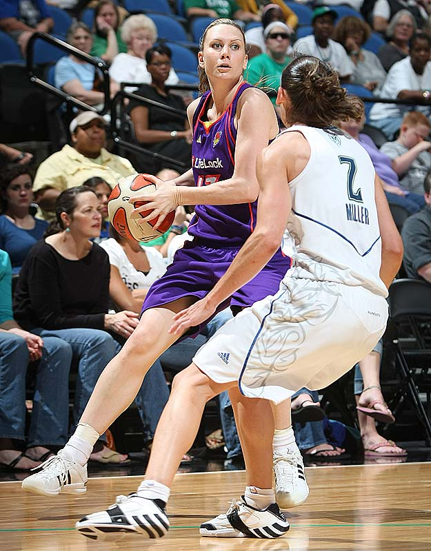 We don't agree with coach Corey Baines' decision to play Penny Taylor (pictured) so much so soon after undergoing reconstructive surgery on her left ankle this spring, but it's tough to argue with the results it produced on Tuesday at Seattle. In 19 minutes, Taylor scored 18 points -- including the last five in overtime -- to lift the Mercury to a 101-90 win. The victory halted a four-game losing streak at Key Arena and capped a five-game road swing in which Phoenix would go an impressive 4-1. Another win in their next game, and we could be looking at our first new power rankings leader in six weeks.<br><br>Next three: 8/8 vs. Indiana; 8/13 vs. San Antonio; 8/15 at San Antonio