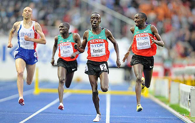 The 2004 Olympic champ, Ezekiel Kemboi pulled away in the final lap of the 3,000, finishing in 8:00.89.