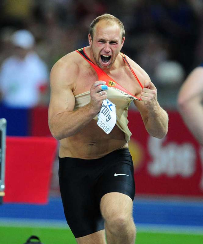 Germany's Robert Harting scored his personal best to win the discus throw finals.