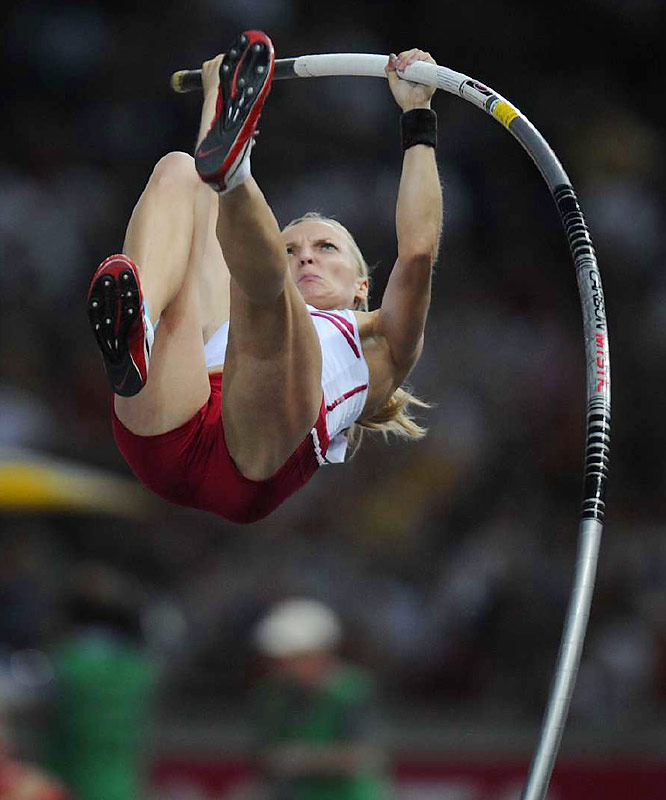 Poland's Anna Rogowska was an upset winner in the pole vault, stunning Olympic champion Yelena Isinbayeva.