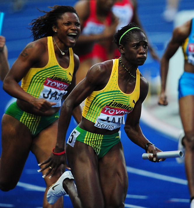 The Jamacian women were also golden, as Aleen Bailey (left), Kerron Stewart and Co. won in 42.06 seconds.