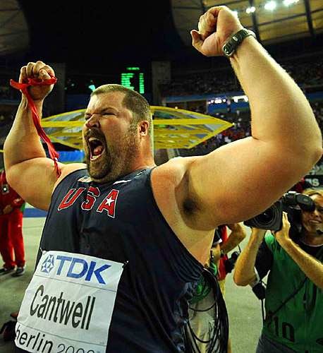 Cantwell won with a mark of 72 feet, 3 inches, the best in the world this season, overtaking Olympic champion Tomasz Majewski of Poland on the fifth of six attempts.