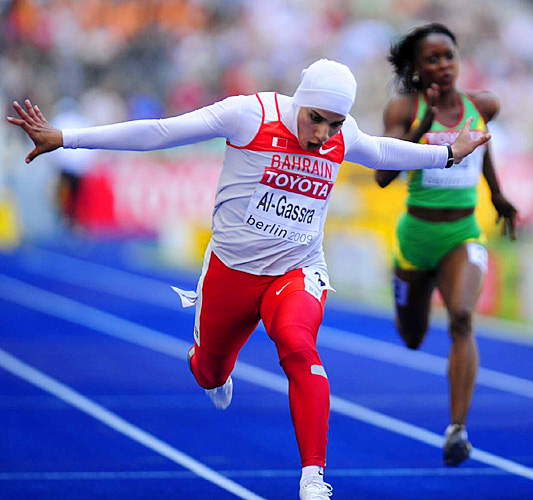 Rakia AL-Gassra of Bahrain ran an 11.49 to advance to the 100-meter quarterfinals, but didn't make it to the semis.