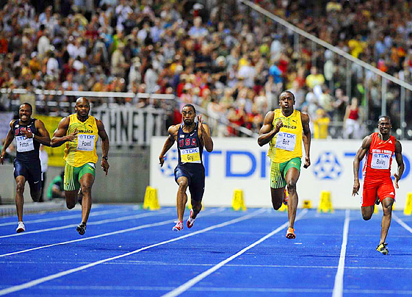 Earlier at the Worlds, Bolt lowered his own world record in the 100 meters, finishing in 9.58 seconds, 0.11 seconds faster than the mark he set last year at the Beijing Olympics.