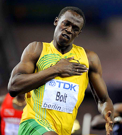 Bolt has set the 100 world record three times.