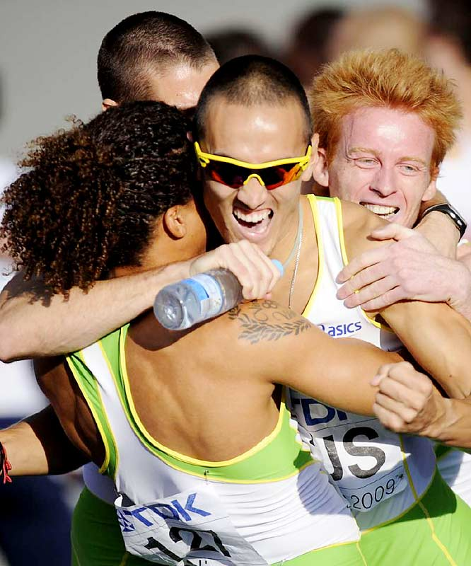 The Australian 4x400 team (John Steffensen, Ben Offereins, Tristan Thomas and Sean Wroe) react after taking bronze.
