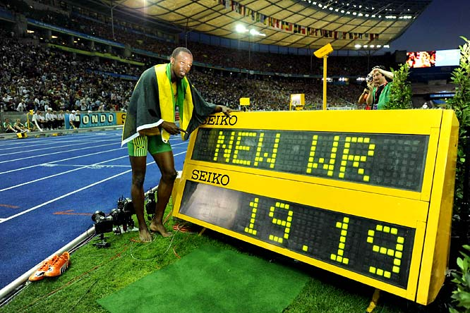 Bolt is now 5 for 5 in major sprint events. He won the gold in the 100, 200 and sprint relay in Beijing's Bird Nest, each time with a world record. Now he is one race away from doing likewise in Berlin.
