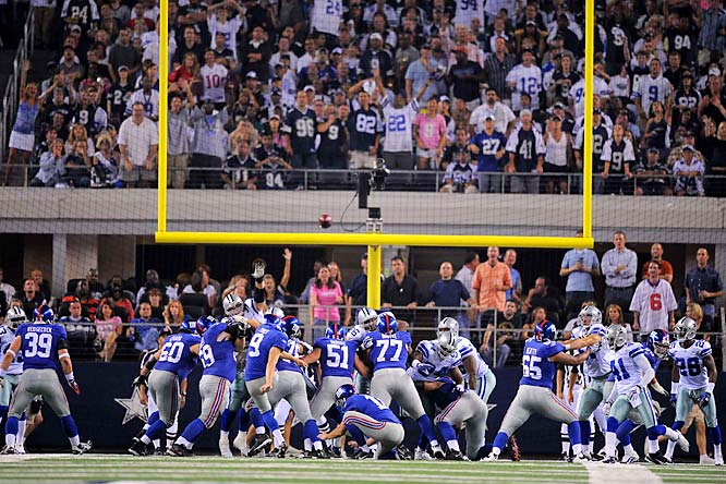 The first regular season game in the new stadium ended with a game-winning field goal by Lawrence Tynes on the final play.