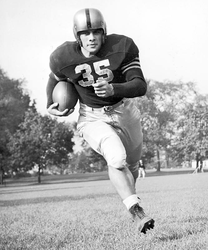 "Blanchard was the first fullback to claim the stiff-armed trophy. Along with ""Mr. Outside"" Glenn Davis, ""Mr. Inside"" formed Army's vaunted backfield, a matinee idol tandem that appeared on the cover of Time magazine."