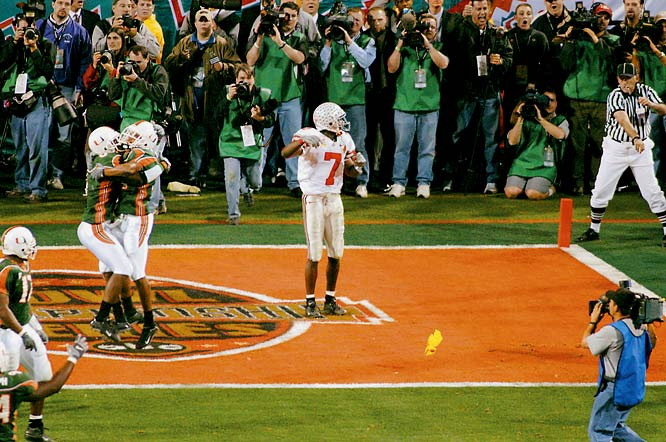 Perhaps the greatest collection of future NFL talent ever assembled fell on what most Hurricanes fans consider a phantom pass interference call. The Buckeyes weren't complaining.