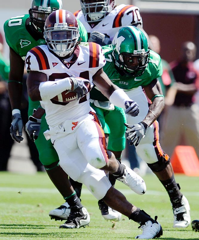 Redshirt freshman Ryan Williams ran for 164 yards and three touchdowns as the Hokies rebounded from their loss to Alabama by routing the Thundering Herd.