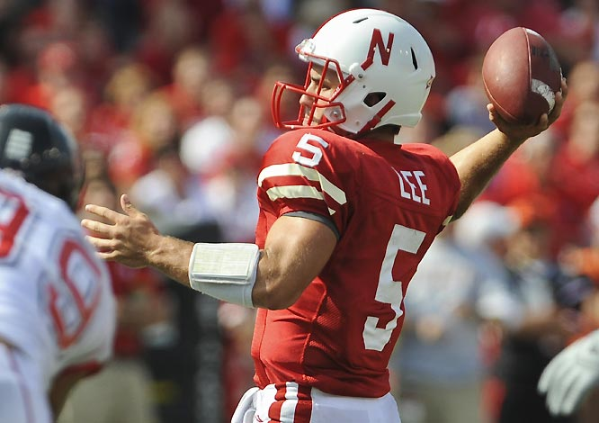 Zac Lee completed 27 of 35 passes to 11 different receivers in throwing for 340 yards and four touchdowns in the Cornhuskers' win.