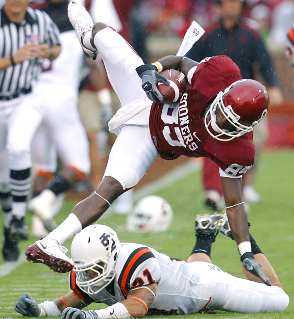 Despite getting tripped up here, Sooners receiver Ryan Broyles was an unstoppable force on Saturday, registering seven catches for 155 yards and three touchdowns.