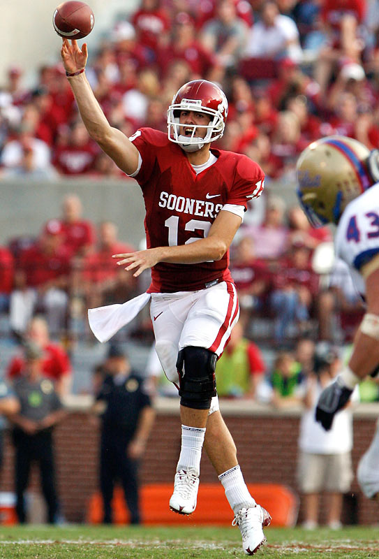 Landry Jones equaled the NCAA record for touchdown passes by a freshman quarterback in a single game, throwing six in his second career start. Ryan Broyles made 11 receptions for 128 yards and three TDs while Brandon Caleb scored twice while snagging five receptions for 104 yards.The Sooners next game is Oct. 3 at Miami.