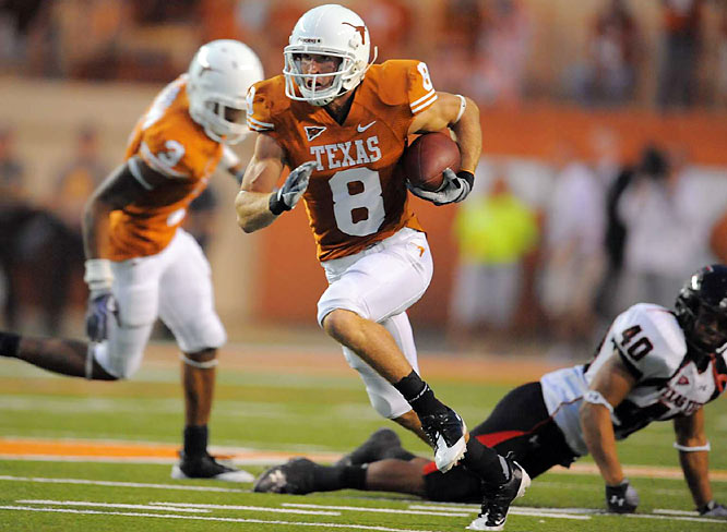 Trying to make amends for a loss at Tech last season that kept the Longhorns out of the national title game, Texas took care of business at home. Jordan Shipley (left) scored on a 46-yard punt return, Tre' Newton and Cody Johnson had scoring runs and Dan Buckner caught a TD pass from Heisman candidate Colt McCoy. Texas plays host to UTEP and Colorado before facing Oklahoma in Dallas.