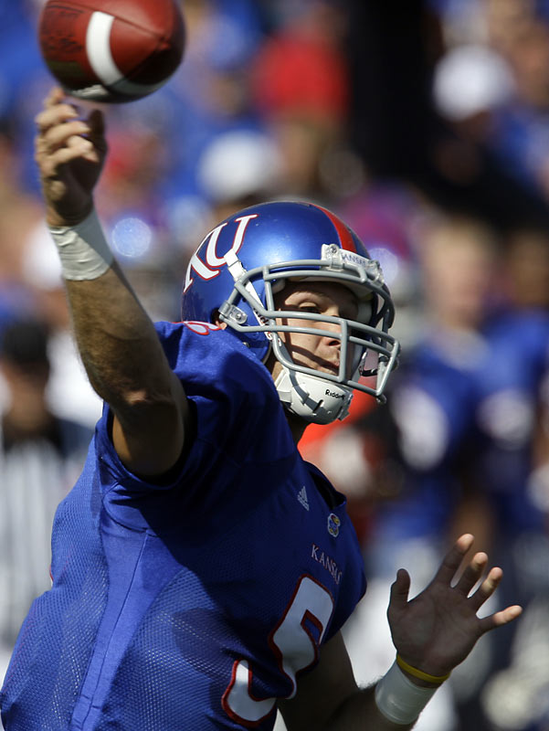 Todd Reesing enjoyed the 14th 300-yard passing day of his career, finishing with 338 and three touchdown passes as the Jayhawks ran their record to 3-0. Freshman running back Toben Opurum scored twice en route to amassing 70 yards on 17 carries. Next up: Southern Miss.