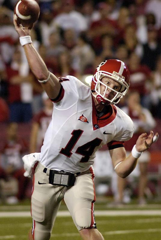 Joe Cox of Georgia and Ryan Mallett of Arkansas both set school records with five touchdown passes apiece in a game that saw four lead changes in the third quarter alone. Cox finished with 375 yards passing while Mallett had a school-record 408. Georgia plays host to Arizona State and LSU before traveling to Tennessee.