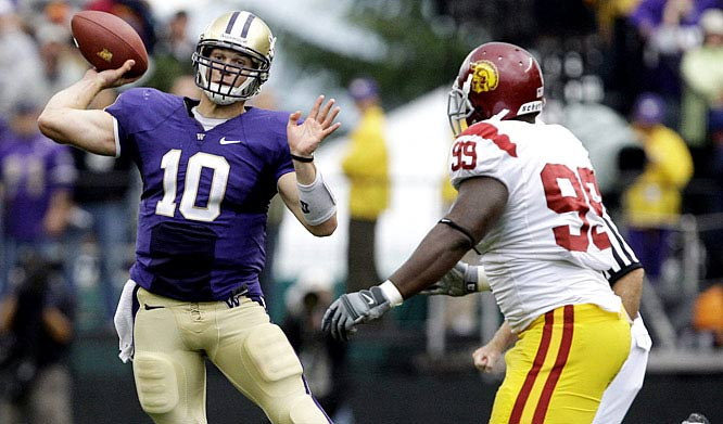 Jake Locker and Washington shocked the USC Trojans, who were playing without freshman sensation Matt Barkley and senior leader Taylor Mays. USC will try to rebound against Washington State while Washington plays Stanford next.