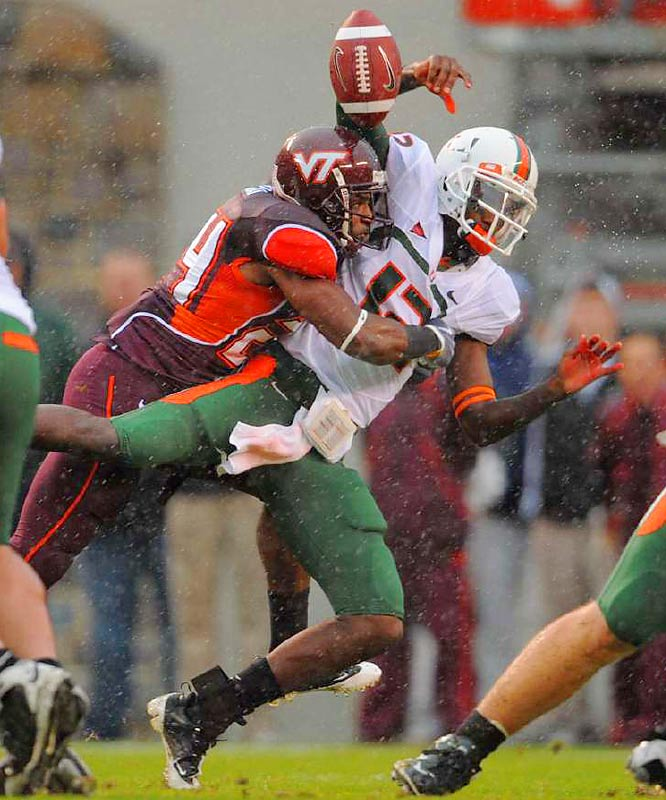 In a downpour at Blacksburg, the Hokies sacked Miami quarterback Jacory Harris three times and held him to 150 yards passing.