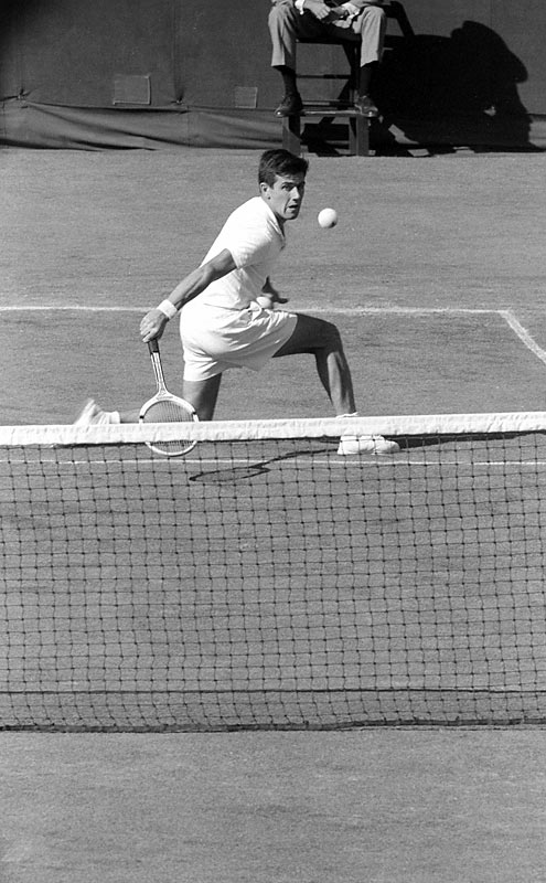 Ken Rosewall slices a backhand during the Finals of the '56 U.S. Open. The Australian would go on to win the match, his first of two Open championships (1970).