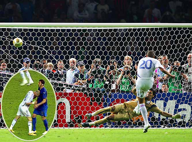 Zinedine Zidane lost his head and then used it. Unfortunately for the great Zidane and this superb World Cup final, Zidane's head-butt of Italy's Marco Materazzi will be what is remembered most. But the game was fast-paced, exciting and ended in a 1-1 draw, leading to a penalty-kick shootout that ended with a 5-3 Italy win and championship when France's David Trezeguet missed his shot.