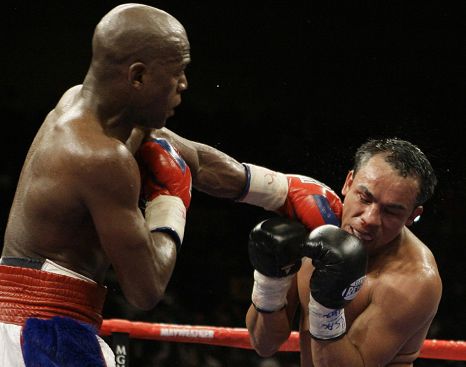 Marquez had a bloody nose by the bout's midway point, and Mayweather landed several hard shots late in the sixth.