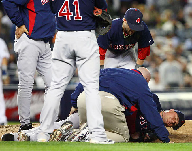 Jon Lester suffered only a contusion after being struck by a ball hit by Melky Cabrera in the third inning. Lester had to leave the game, but is expected to make his next start.