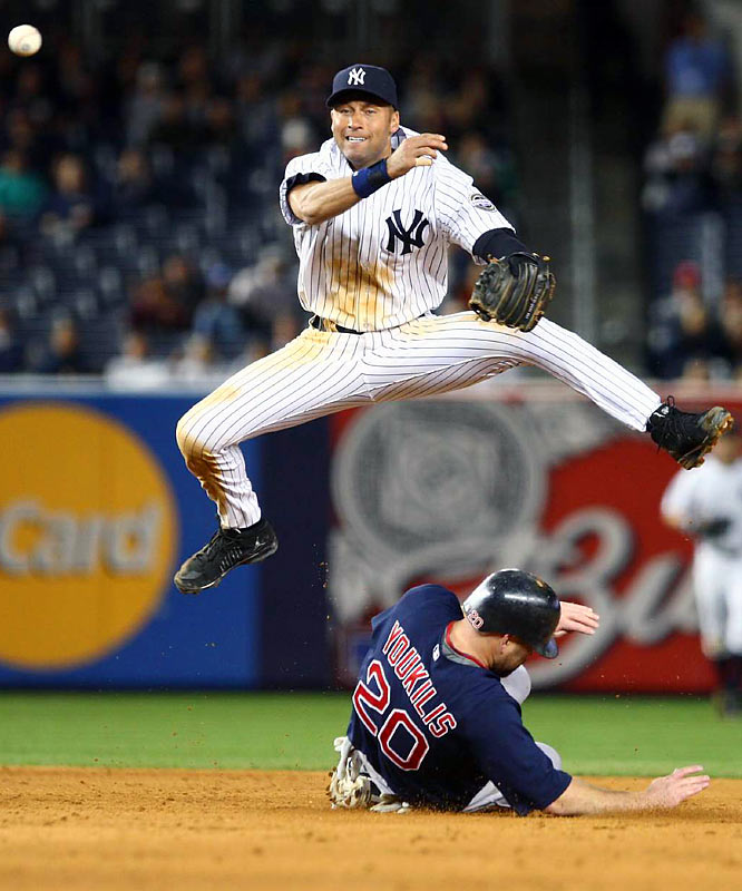 Derek Jeter turned a double play over the Red Sox's Kevin Youkilis during the seventh inning.