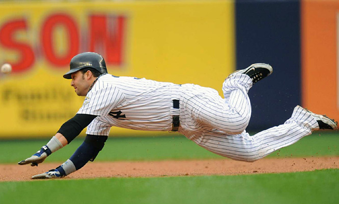 Nick Swisher slid into second base safely for a 5th inning double.