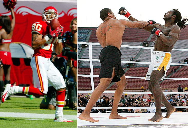 The 21st overall pick in the 1994 NFL draft turned his attention to MMA two years after his career as a wide receiver ended. He was knocked out by Bernard Ackah in 38 seconds in his only fight, at a Dynamite! USA event in 2007. Afterward, Morton was suspended indefinitely for testing positive for anabolic steroids.