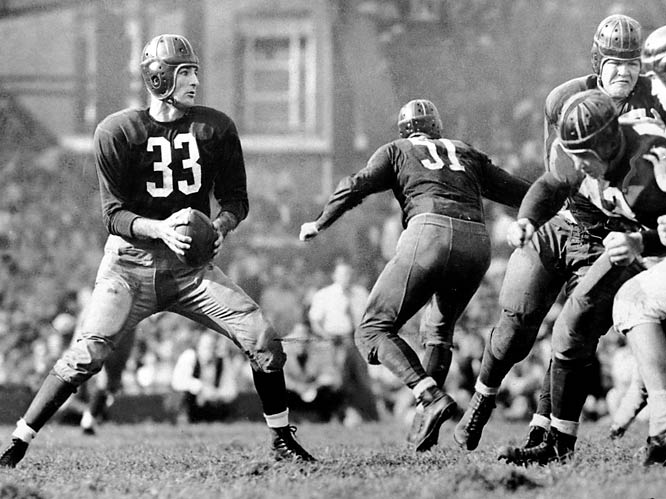 Incredible three-way player: In '43 he led the NFL in passing, punting and interceptions.