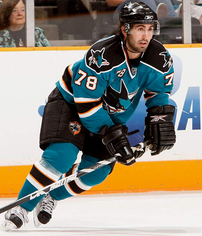 """The Coyotes drafted Ferriero (pronounced FAIRY-oh), but failed to sign him. Given a chance by the Sharks prior to rookie camp, the Boston College grad earned a contract and trip to main camp where he had three goals in four games while keeping Dany Heatley's spot warm on Joe Thornton's line. A longshot to make it this far, Ferriero caught the attention of coach Todd MacLellan and could stick. """"He's been one of our top players,"""" the coach said."""