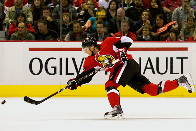There are several puck-moving types on the Sens blueline but none who dish the biscuit with such creativity and aplomb. Just 19, Karlsson looks like a prayer answered for a team that was short of a true offensive defender. His slick passing dazzled observers in the preseason and could earn him a spot on the team's first power play unit.