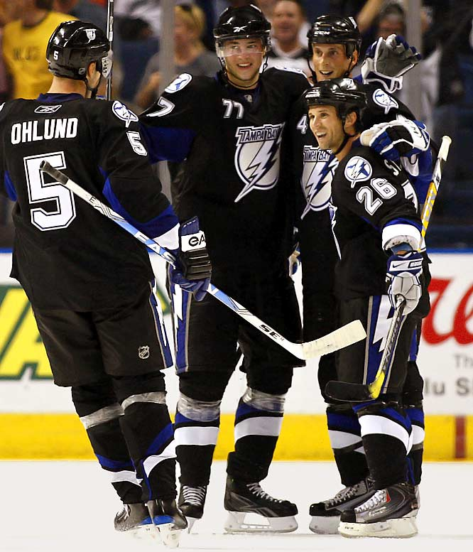 The oversized Swede not only matched Tampa's long-term needs, he looks ready to immediately address last season's most gaping hole. Hedman (77) dazzled in camp, utilizing his poise, strength and skating to gobble up staggering quantities of ice time. His workload likely will be reduced when the games start to count, but he'll be the go-to guy before season's end.
