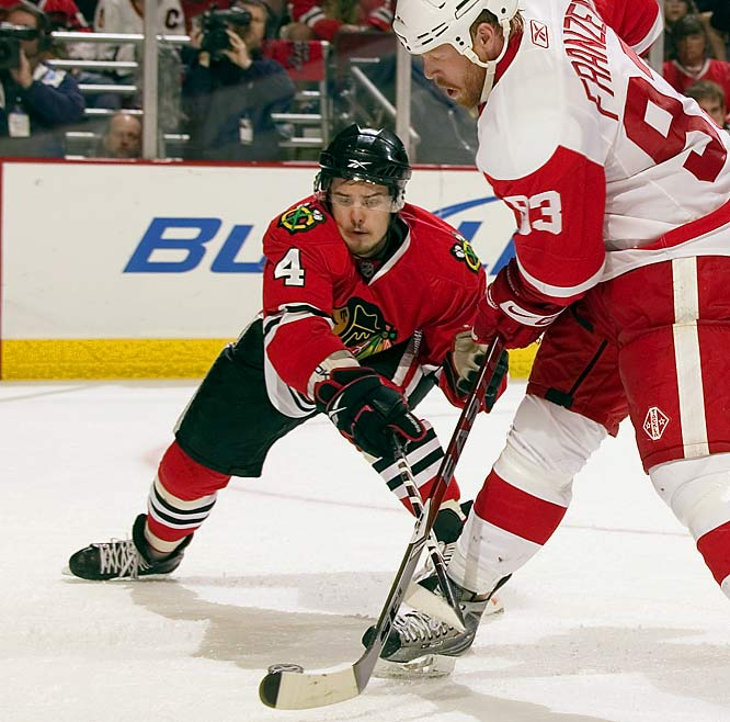 The NHL's most underrated defenseman, selected by Chicago in the fourth round of the 2005 draft, moves the puck smartly and withstands the pounding.<br> -- <i>Michael Farber</i>