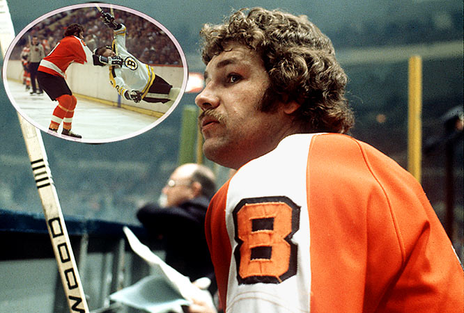 Nicknamed for his devastating roundhouse right, the punishing enforcer personified the Flyers' infamous Broad Street Bullies from 1972-76. Along with winning two Stanley Cups and whipping all comers, The Hammer is best known for his brutal beatdown of hapless Rangers defenseman Dale Rolfe in the 1974 playoffs.