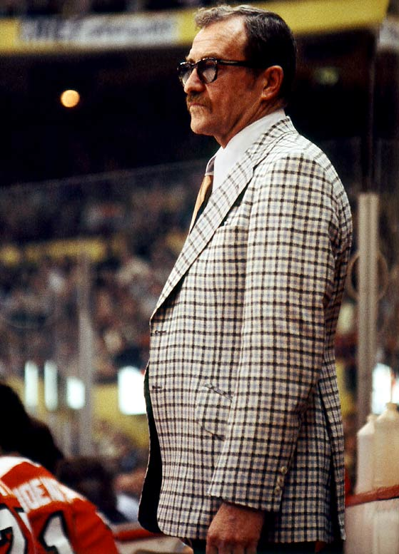 "So called because he was so often lost in thought that he seemed to be in a fog, the coach of Philadelphia's infamous Broad Street Bullies guided them to successive Stanley Cups in 1974 and 75 and is also known for his famous directive to his players, ""Take the shortest route to the puck-carrier and arrive in ill humor."""